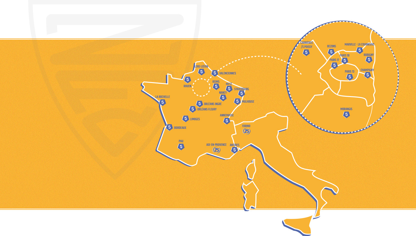 Carte France Centres Zidane Five Club